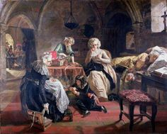 The Royal Family of France in the Prison of the Temple by Edward Matthew Hall (1816-79) painted 1851. Marie Antoinette mends the King's coat whilst he sleeps. The children and their aunt keep occupied while, through the doorway, jailers play cards and another peers at the family. The King and Queen were executed in 1793. When this painting was shown in France it made people cry. (artuk.org). In the Harris Museum & Gallery, Preston, Lancashire, England.