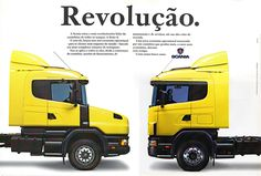 """Lançamento da Série 4: o título """"Revolucionário"""" fazia jus aos novos caminhões, não apenas pelo moderníssimo estilo como pelo conceito de modularidade adotado a partir de então pela marca."""