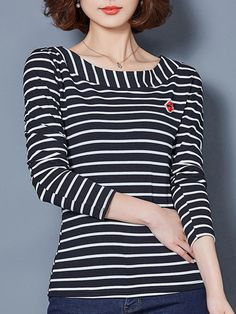 Specification: Material:Cotton Style:Casual Collar:O-neck Pattern:Stripe Color:Black,White Sleeve Length:Long Sleeve Season:Spring,Fall,Winter Package included: 1*T-Shirts