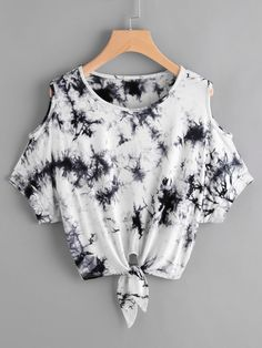 Shop Tie Dye Open Shoulder Knotted Hem Tee online. SheIn offers Tie Dye Open Shoulder Knotted Hem Tee & more to fit your fashionable needs.