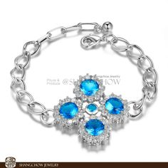 >> Click to Buy << New! Stunning Fashion Jewelry 5 PCS Blue Crystal 925 Sterling-Silver-Jewelry Bracelet B0052 #Affiliate