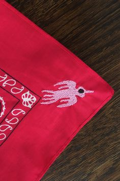 Embroidered Bandana in Red Thunderbird