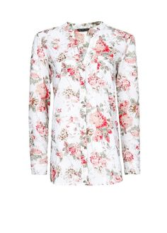 Floral print cotton blouse with long sleeves, v-neck, button fastenings through front, patch pocket at chest and buttoned cuffs. Floral Tops, Floral Prints, Mango, Shirt Dress, Blouse, Curves, Give It To Me, Style Inspiration, Elegant