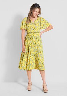 Spritely As Spring Midi Dress | ModCloth Cute Dresses, Vintage Dresses, Dresses For Work, Summer Dresses, Yellow Midi Dress, Pink Maxi, Cute Cardigans, Cardigans For Women, Vintage Inspired Fashion