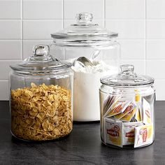 Cool Kitchen Storage Ideas - I LIKE THESE GLASS CANISTERS FROM WILLIAMS-SONOMA.
