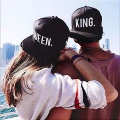 KING QUEEN Embroidery Snapback Hat Acrylic Men Women Couple