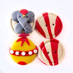 Elephant Circus Buttons 4 by TinyPips on Etsy