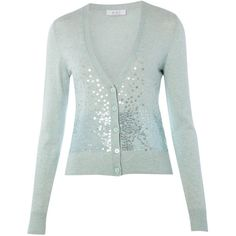 Oui Sequin mint green fine knit cardigan ($82) ❤ liked on Polyvore