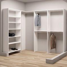 TidySquares White Wood 93 x Corner Walk-in Closet System (White)(Laminate) Front Closet, Closet Rod, Closet Shelves, Master Closet, Closet Bedroom, Bedroom Corner, Corner Closet Organizer, Small Closet Organization, Wardrobe Storage