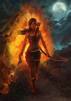 Tomb Raider  Lara croft. Cool guys don't look at explosions lol!