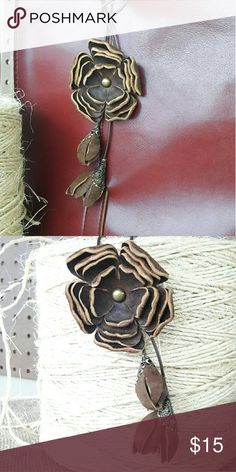 Leather Flower Purse Charm,Handbag charm Give your purse or handbag a charm .This leather flower is handmade,handcut and put together with lots of love.Made to fit almost on any handbag strap. Available in brown.Thank you Leather Blums Accessories Key & Card Holders