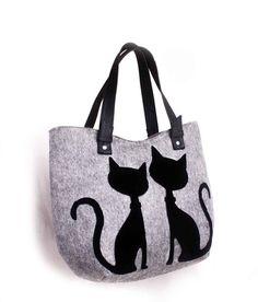 Women Felt bag ladies handbag casual bag black felt by volaris