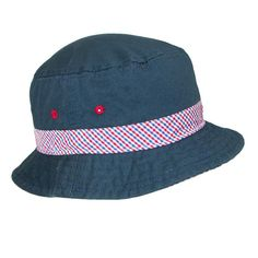 Enjoy the outdoors knowing your child will have protection from the sun with this nautical bucket hat. It features a checkered underbrim with matching hatband, eyelets for breathability, and is made from cotton which makes is comfortable to wear. This hat is great for playing outdoors, fishing, a day at the park, Fourth of July, and much more!