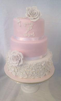 Blush Pink and White Christening Cake, by Amy Hart