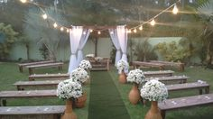 Opção para o casamento no jardim, exceto vasos de flores
