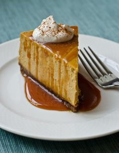 You'll melt over this creamy and delicious Pumpkin Cheesecake with Gingersnap Crust and Caramel Sauce.