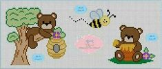 This post was discovered by Fi Cross Stitch Baby, Cross Stitch Patterns, Crochet Diagram, Perler Beads, Cross Stitching, Beading Patterns, Ladybug, Teddy Bear, Quilts