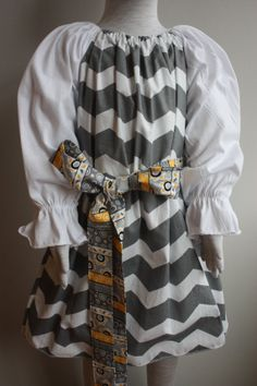 Gray and White Chevron Dress....Size 5T....Made by LevonaDanielle, $30.00