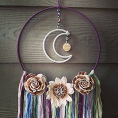 Love Gifts, Girl Gifts, Moon Decor, Sola Wood Flowers, Boho Wall Hanging, Dream Catcher Boho, Teal And Gold, Frame Wreath, Crafts To Make