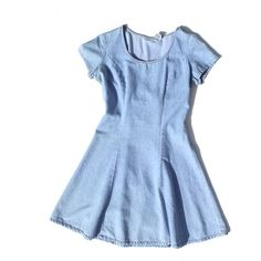 vintage 1990's DENIM dress lace up back short sleeve circle skirt... (32 AUD) ❤ liked on Polyvore featuring dresses, vestidos, blue, short dresses, short blue dresses, blue skater skirt, denim skater skirts, denim circle skirt and flared skirt