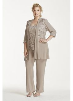 Mock Two Piece Lace and Jersey Pant Suit  7772W