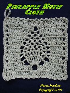 Motif uses both a J and H hook. Easily made into a dishcloth or spa body cloth. Nice for shower bridal gifts or Christmas. Can get 2 cloths from one ball of solid color. Has an extensive close-up slide show.