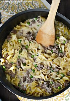 One-Pot Ground Beef Stroganoff is loaded with seasoned hamburger meat, egg noodles and peas in a creamy sauce. Make this easy dinner in just 30 minutes!