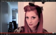 Vintage barrel roll with straight hair tutorial by CHERRY DOLLFACE / for halloween AND ALL THE TIME