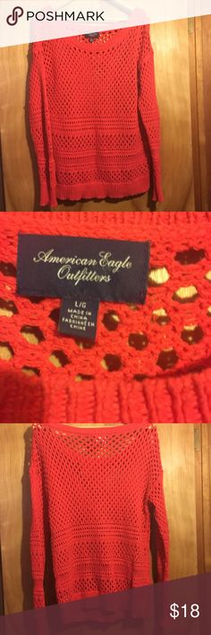 AMERICAN EAGLE 🦅 LOOSE KNIT SWEATER. American eagle 🦅 sweater loose see thru type knit. Casual comfortable piece in a great statement color. I consider all offers or add to a bundle. American Eagle Outfitters Sweaters