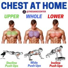 Pec Workouts, Leg Workouts For Men, Chest Workout For Men, Workout Routine For Men, Body Workout At Home, Gym Workout For Beginners, At Home Workouts, Home Chest Workout, Workout Plan For Men
