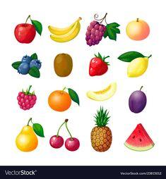 Kiwi, Healthy Prepared Meals, Game Fruit, Raspberry, Strawberry, Fruit Icons, Fruit Cartoon, Banana, Blueberries