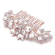 Elegant Rose Gold Plated Crystal and Pearl Floral Bridal and Prom Hair Comb - Sale!, $39.99 (http://www.affordableelegancebridal.com/rose-gold-plated-crystal-and-pearl-floral-bridal-hair-comb-sale/)