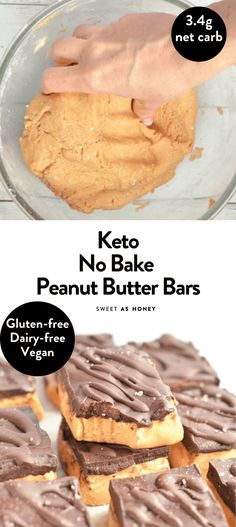 NO BAKE PEANUT BUTTER BAR #ketosnacks #ketodesserts #ketobest #ketogenicdiet #ketorecipes #ketodiet #lowcarbdiet #lowcarbrecipes #lowcarbdesserts #glutenfreecrepes #ketorecipesforbeginners #ketoeasy #keto #ketosis #ketones #ketobar Low Carb Sweets, Low Carb Desserts, Healthy Desserts, Low Carb Recipes, Baking Recipes, Diabetic Recipes, Dessert Recipes, Keto Dessert Easy, Diabetic Desserts