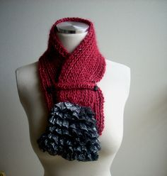 Maroon scarf, neck ware, hand knitted