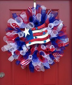 Patriotic; red,white & blue; Memorial Day; 4th of July, deco mesh flag wreath