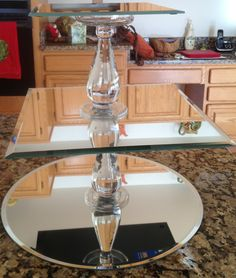 DIY Cake Stand. Love the mirrors!