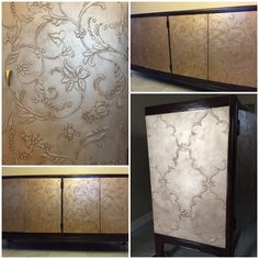 Embossed metallic panels on furniture | Decorative Artist Angela Gorini Perrone of Divine Rooms | Relief art finishes and two side panel finishes were created with the help of Royal Design Studio Stencils and Modern Masters Warm Silver Metallic Paint