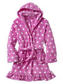Dot ruffle fleece sleep robe