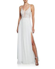 5c53113fd6 Get free shipping on Faviana Lace Top Halter Gown with Lace-Up Back & Thigh
