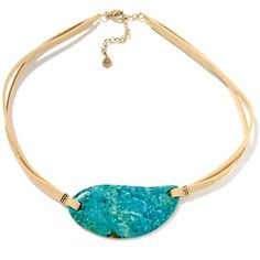 """Studio Barse Turquoise Drop 17"""" Leather Cord Necklace at HSN.com"""