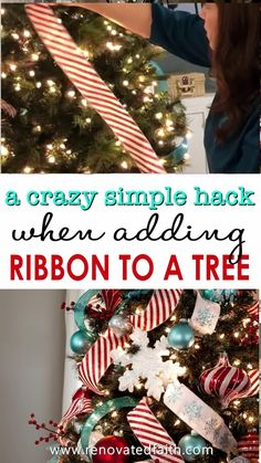 The EASY WAY to Decorate a Christmas Tree – This STEP-BY-STEP tutorial with video shows you how to add cascading ribbon on Christmas trees. Waterfall ribbon Christmas trees allow you to add any combinations of ribbon & mesh colors to customize your tree with satin or even flannel. Ideas & DIY instructions on how to make ribbon garland for Christmas trees for any Christmas décor style including farmhouse, elegant or traditional holiday décor. #Christmastree #christmasdecor Gold Christmas Decorations, Ribbon On Christmas Tree, Christmas Tree Themes, Christmas Holidays, Christmas Crafts, Christmas Topper, White Christmas, Ribbon On Tree, Elegant Christmas Trees