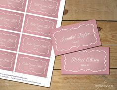 Dusty Pink Wedding Printable Placecards Flat by MyCrayonsPapeterie