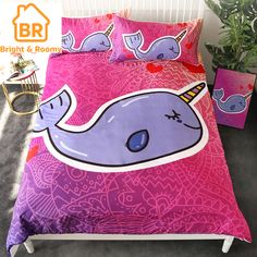Narwhal Duvet set with two pillow cases. Narwhal are the unicorn of the sea. Super cute bedding set to add to your home. 3d Bedding, Cute Bedding, Unique Bedding, Blanket Cover, Quilt Cover, Duvet Cover Sets, Pillow Covers, Cotton Duvet, Cartoon Kids