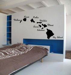 Hawaiian Islands BIG Ocean Art - Names included- Vinyl wall art decals by 3rdaveshore. $54.00, via Etsy.