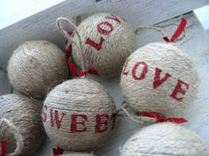 jute wrapped balls, stamped
