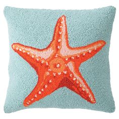 Bring a touch of coastal charm to your sofa or favorite reading nook with this hand-hooked wool pillow, featuring a starfish motif.   Pr...
