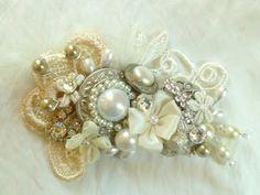 Feather & Pearl Bridal Hair Comb-  Collage Wedding Hair Piece- Vintage Wedding Hair Accessories- Statement Bridal hairpiece- fascinator. $59.00, via Etsy.