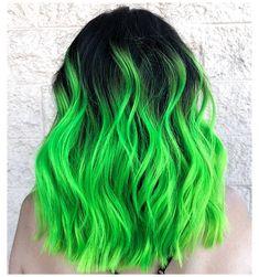 Funky Hair Colors, Vivid Hair Color, Pretty Hair Color, Green Hair Colors, Bright Hair Colors, Colourful Hair, Crazy Color Hair Dye, Green Hair Streaks, Neon Green Hair