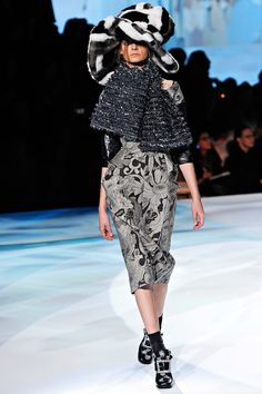 I wish I could see the dress under all the gewgaws. Beautiful print and the cut and seams look complicated, in a good way. (Marc Jacobs)