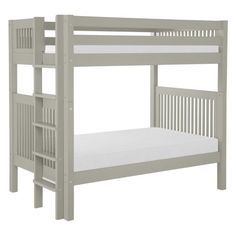 Camaflexi Mission Headboard Twin over Twin Bunk Bed with Bed End Ladder (and underneath storage drawers)
